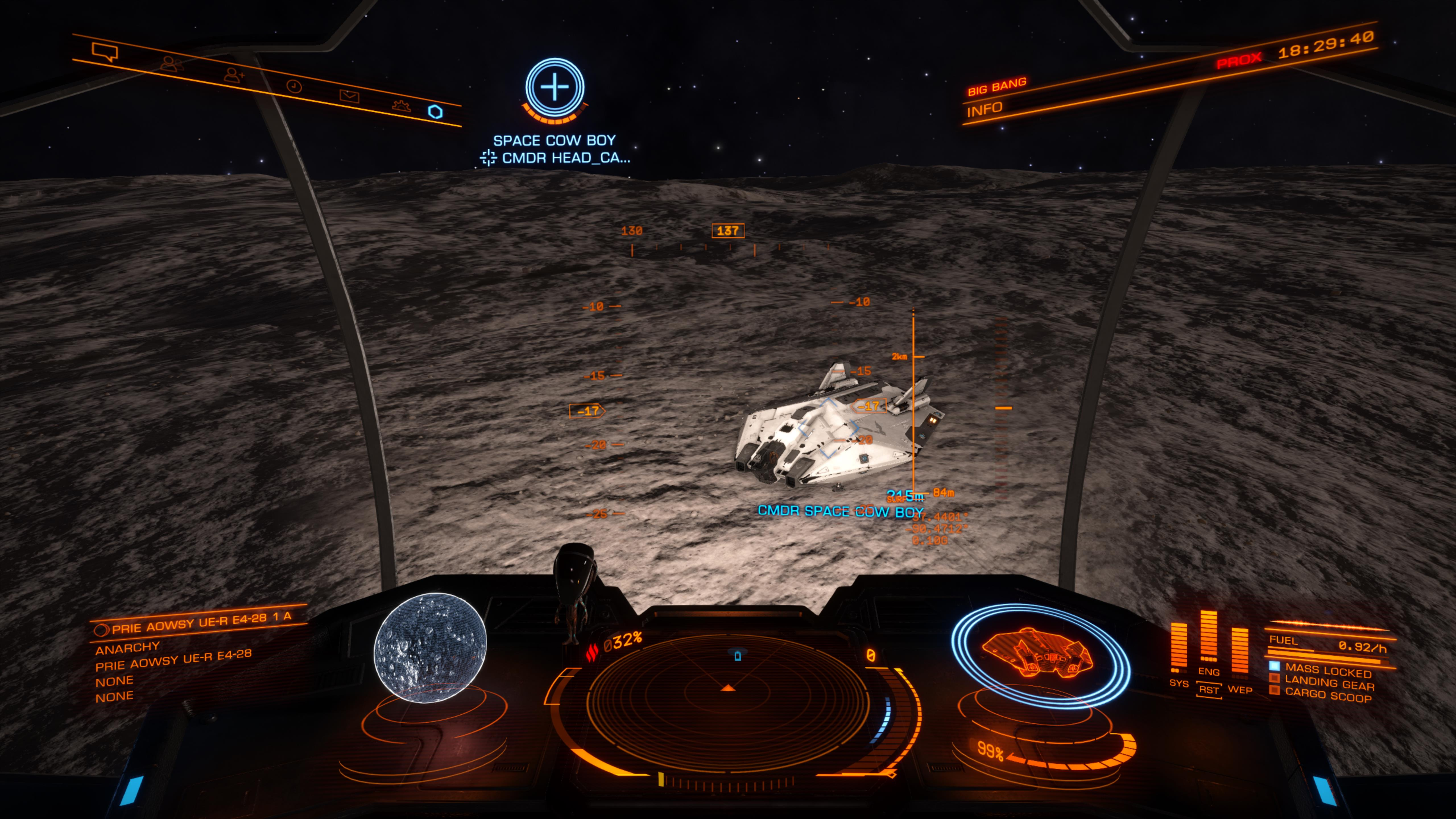 Hovering over and illuminating CMDR Space Cow Boy's ship waiting for him to start engines
