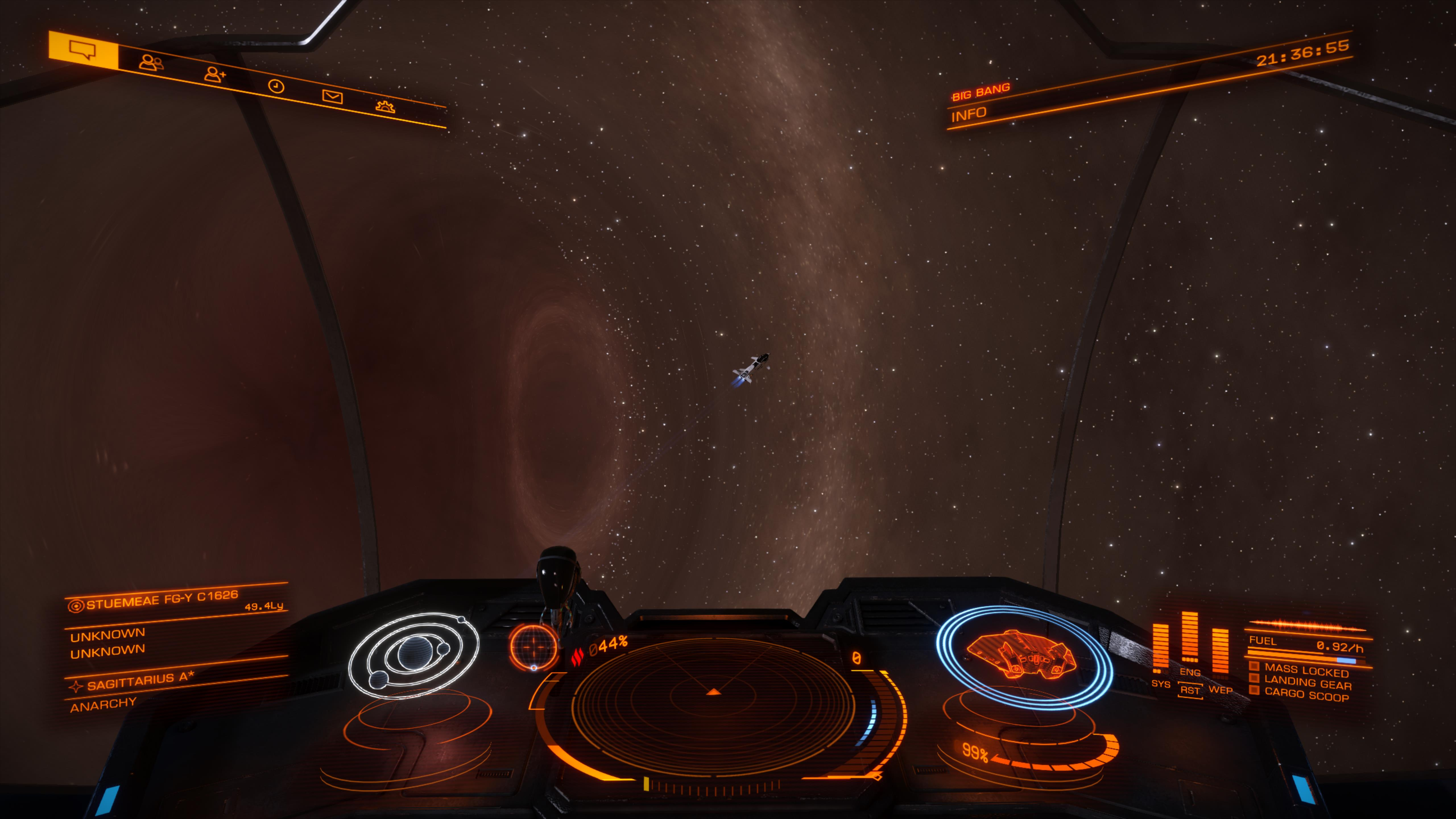 Passenger cruise ship flying by Sag A*